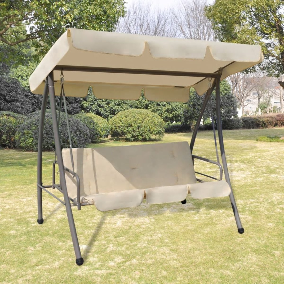 vidaXL Schommelstoel voor buiten met luifel zandwit kopen