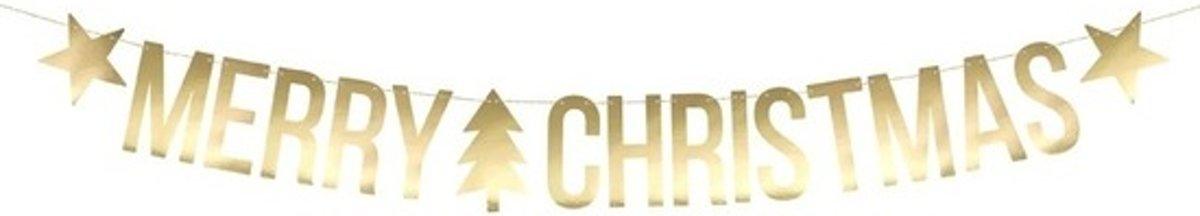 Gouden Merry Christmas DIY Kerst banner slinger 20 x 175 cm kopen