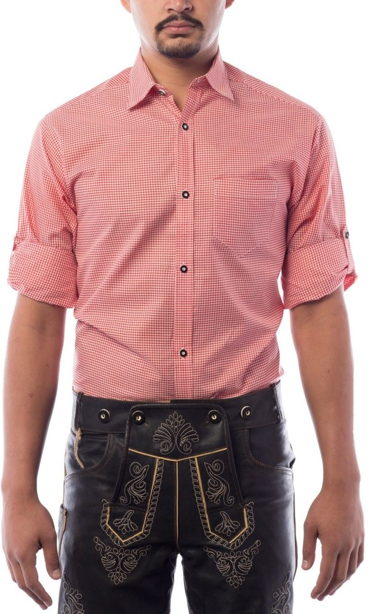 Partychimp Oktoberfest overhemd fijne ruit Rood - 2XL