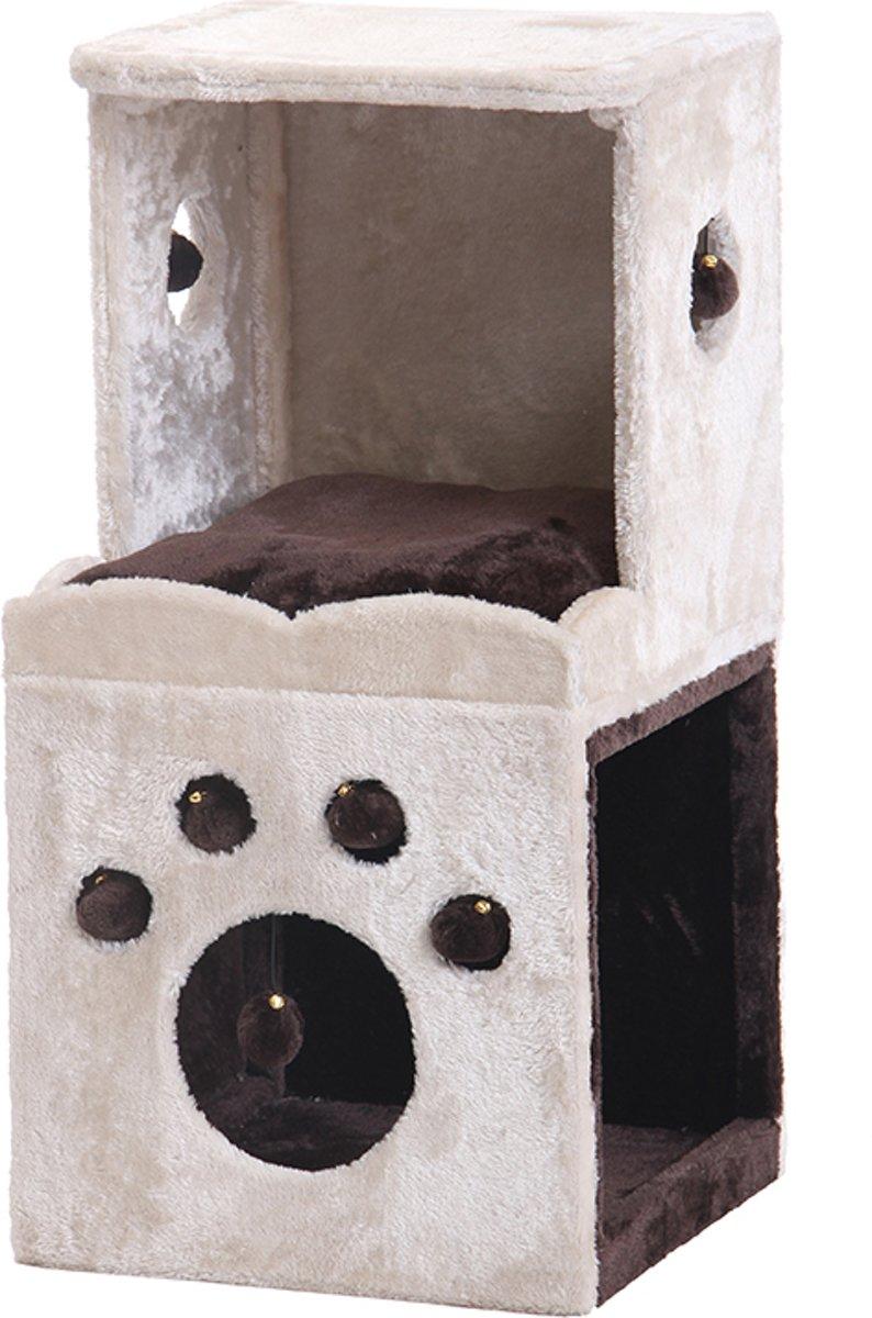 Nobby krabmeubel tocan pluche en sisal beige 40 x 40 x 80,5 - 1 st