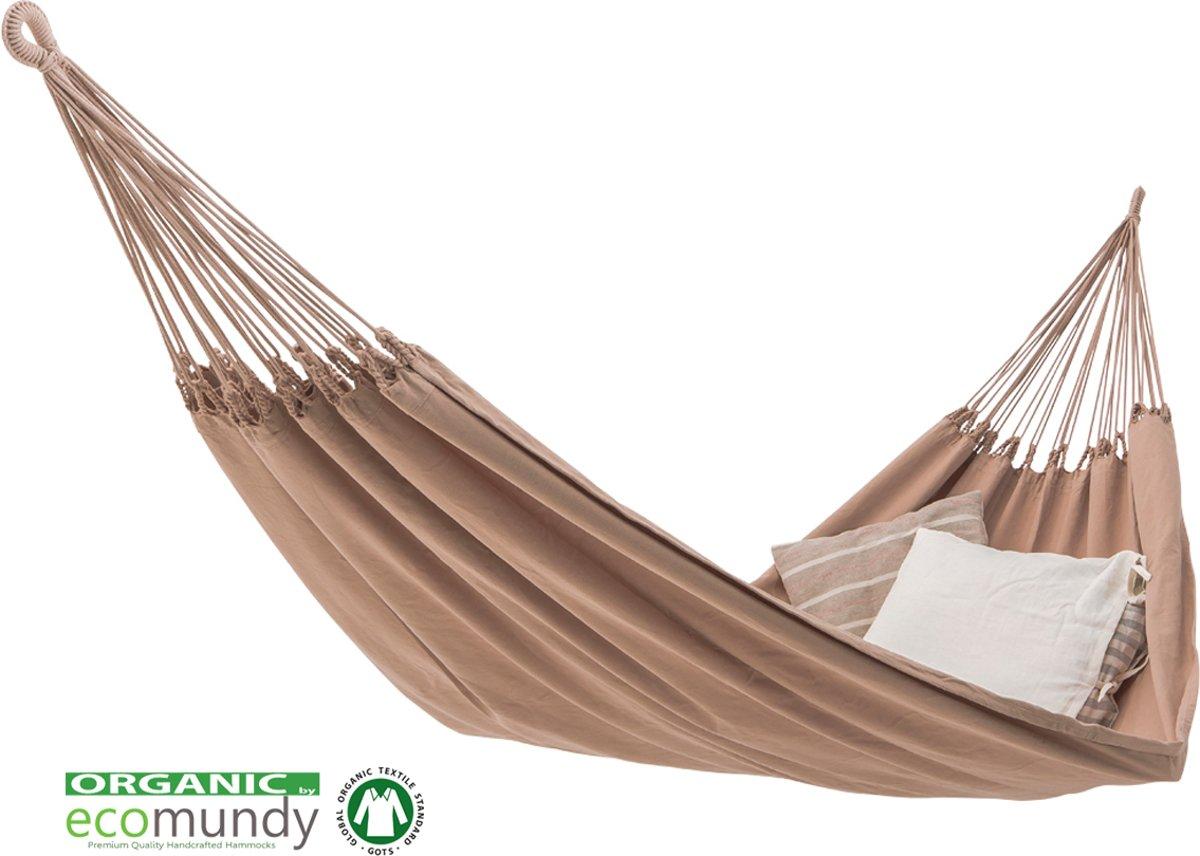 Ecomundy Pure XL 400 Beige - Luxe hangmat, 2 persoons, handgeweven -  bio katoen -GOTS - 160x260x400cm Max 250kg