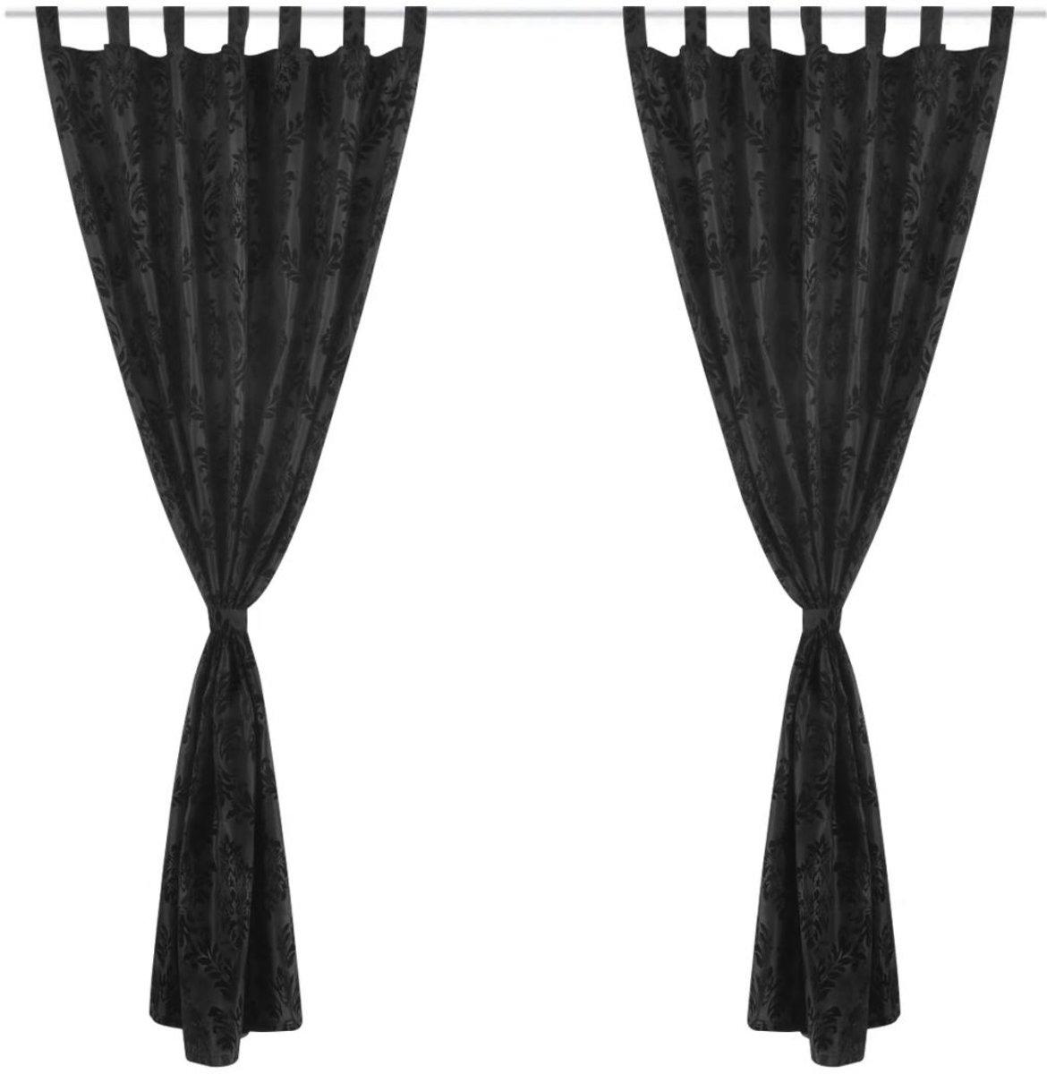 bol.com | vidaXL 2 Gordijnen tafzijde barok 140 x 245 cm zwart
