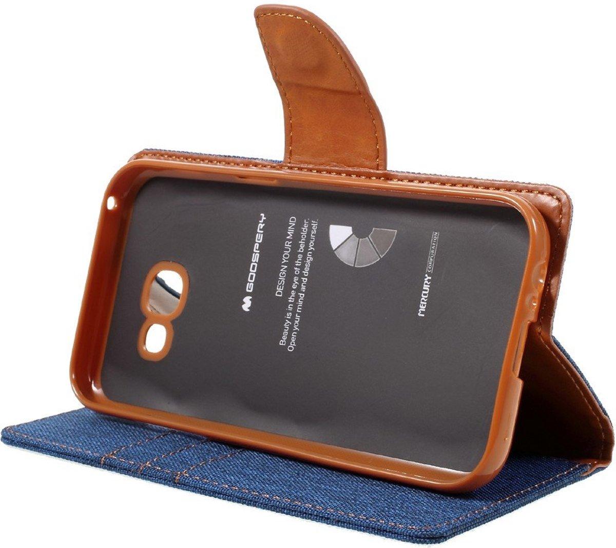 Mercury Goospery Samsung Galaxy A5 2017 Hoesje 2016 Canvas Diary Case Gray Wallet Donker Blauw
