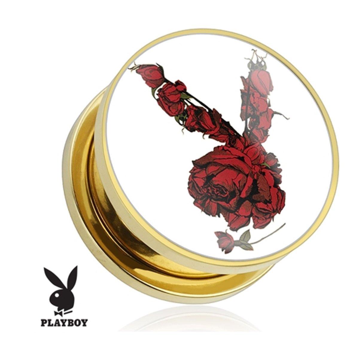 14 mm screw fit plug Playboy rozen gold plated (per paar) ©LMPiercings kopen
