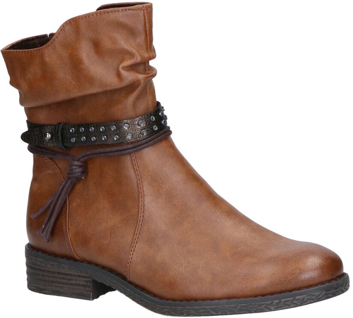 Zwarte Lederlook Veter Boots met Chain Detail