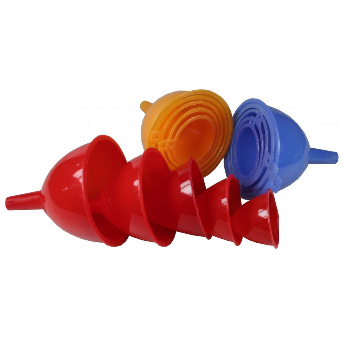 Premium Kunststof Trechter Set voor auto keuken – Olie trechter – Mini trechter - Ø 11,5 / 9,5 / 7,3 / 5,0 cm - 5 Stuks kopen