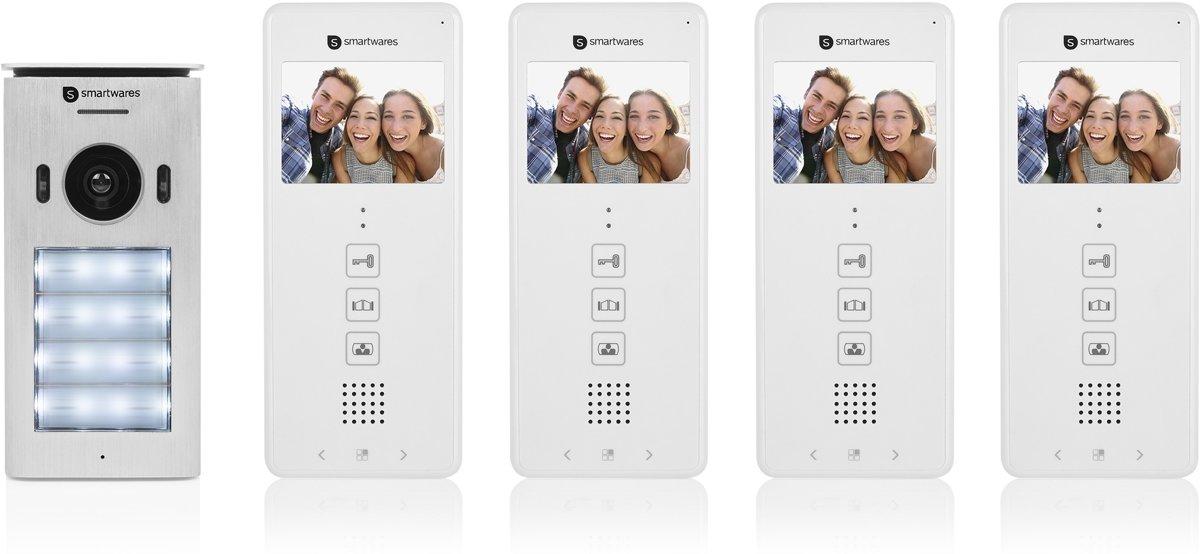 Smartwares DIC-22142 video deurintercom voor vier appartementen - 2-draads met 2-weg audio communicatie kopen