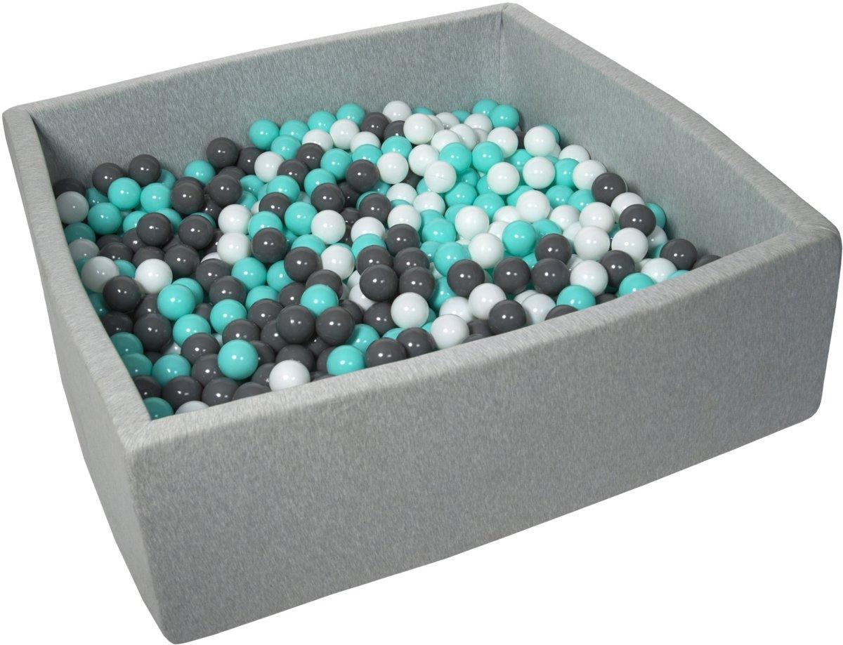 Ballenbak - stevige ballenbad - 120x120 cm - 900 ballen Ø 7 cm - wit, grijs, turquoise.