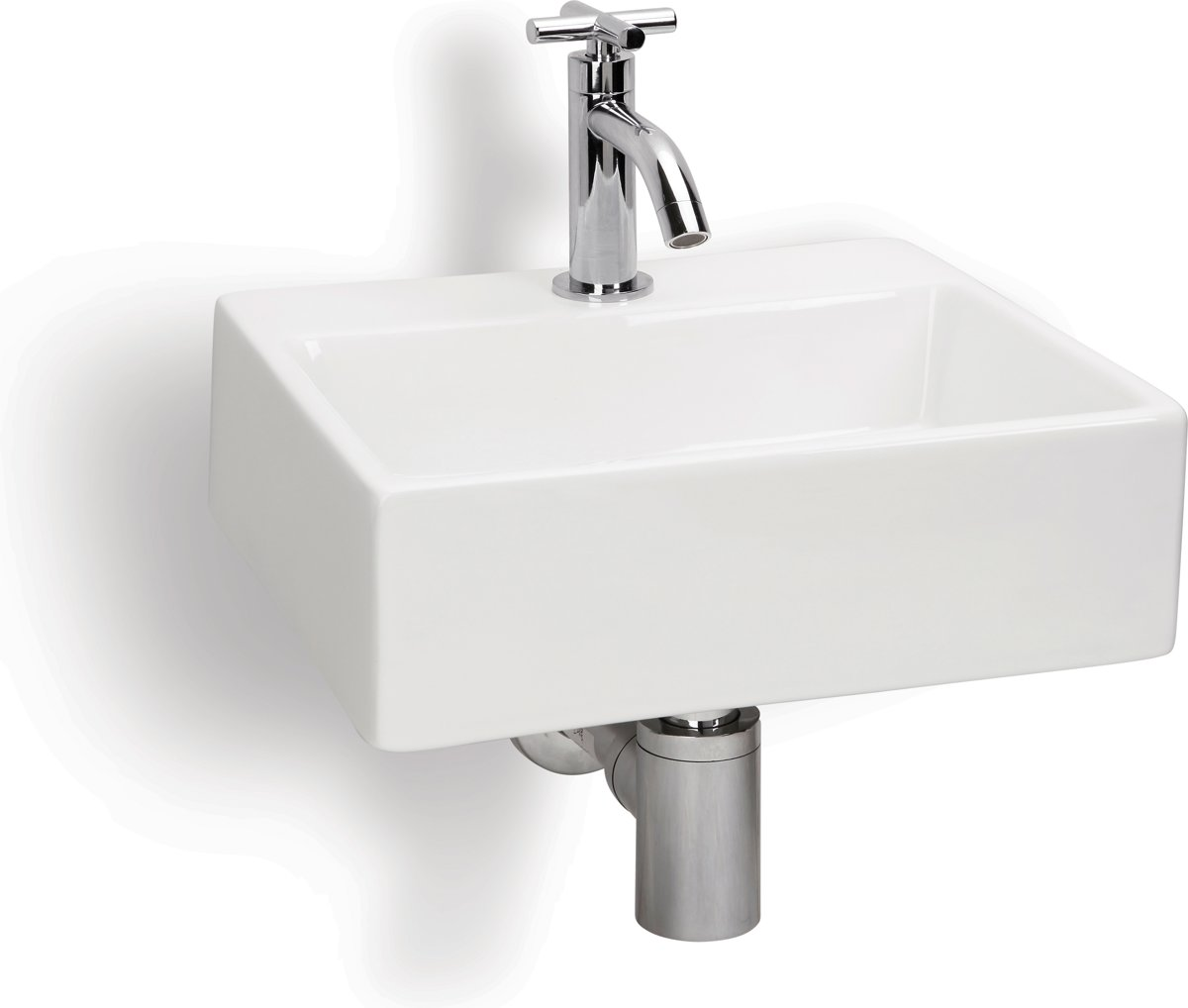 Differnz Argus Fontein Toilet - Set - Fontein 33 x 28,5 cm inclusief fonteinkraan en sifon - Keramiek - Wit kopen