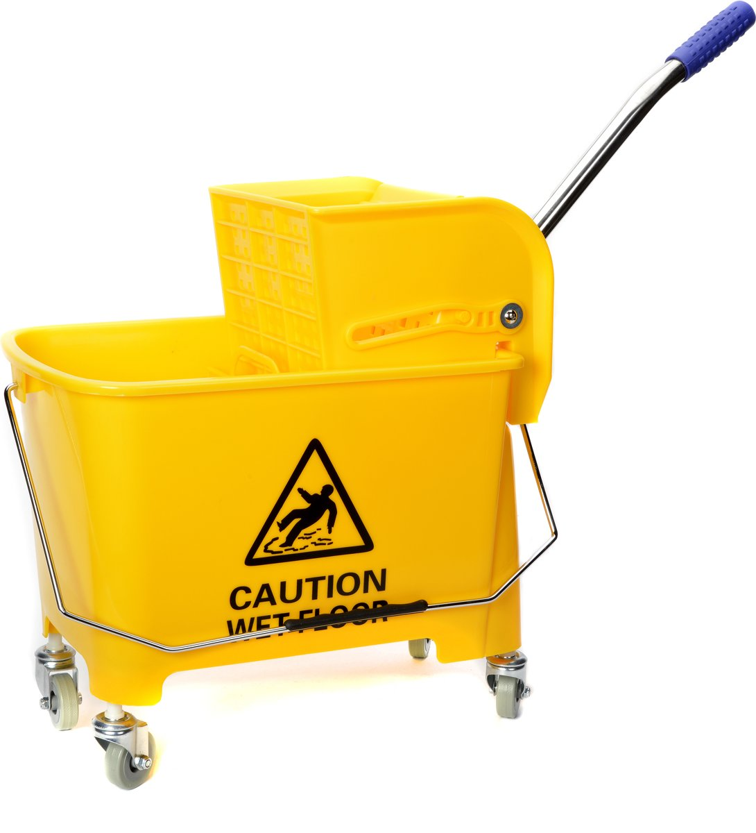 Mopemmer + strengenmop pers zware kunststof uitvoering met een inhoud van 20 liter met wielen in de kleur geel kopen