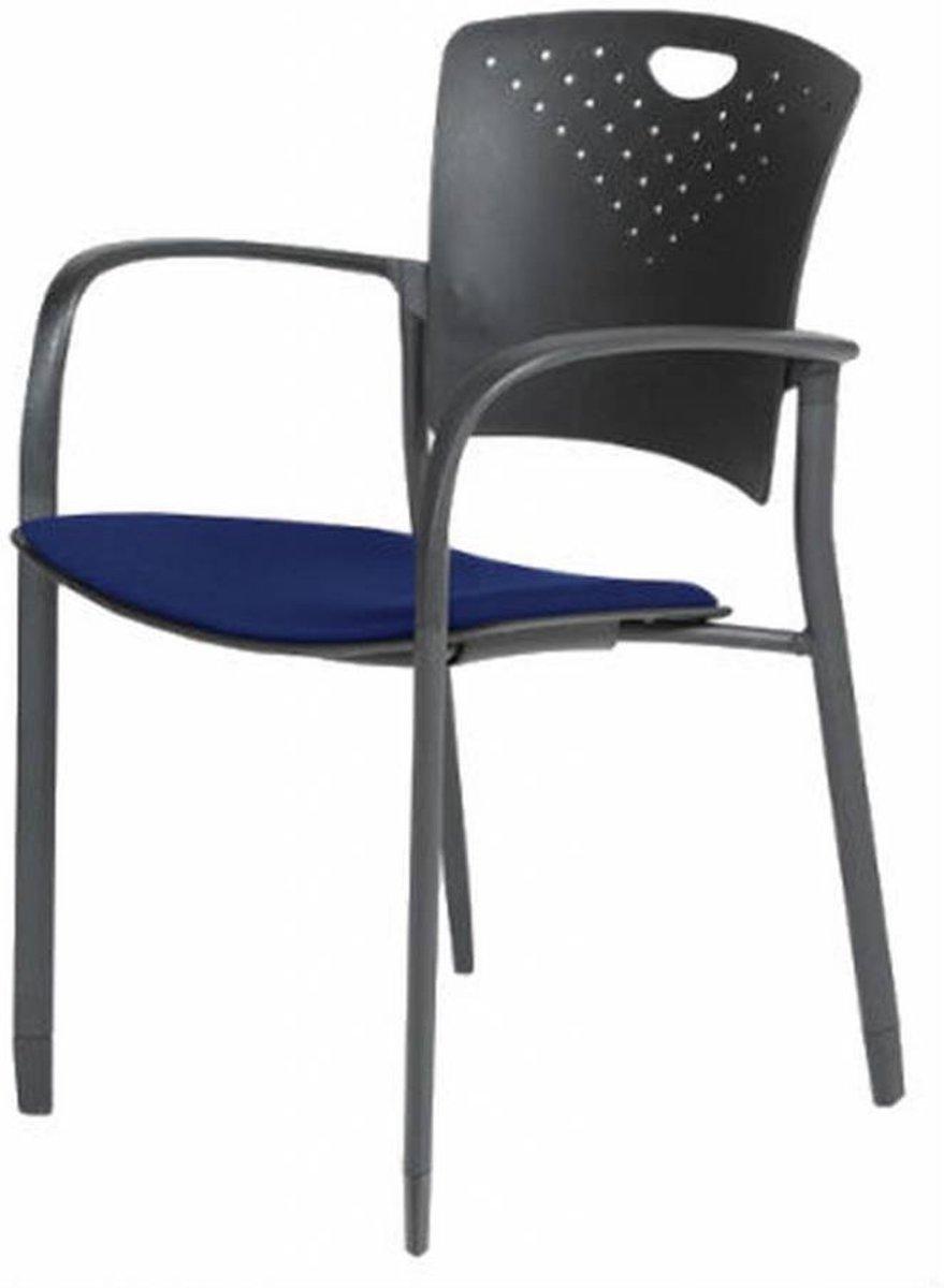 Vergaderstoel - Schaffenburg 031 4-poots m/a blauw stof zwart pu kopen