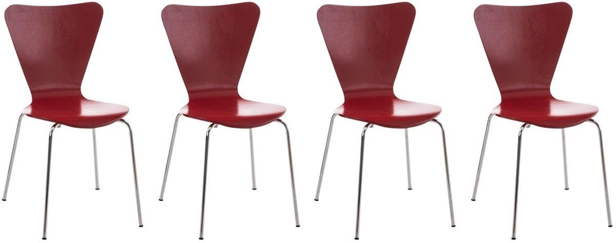Clp Bezoekersstoel, keukenstoel, conferentiestoel CALISTO - set van 4 - rood kopen