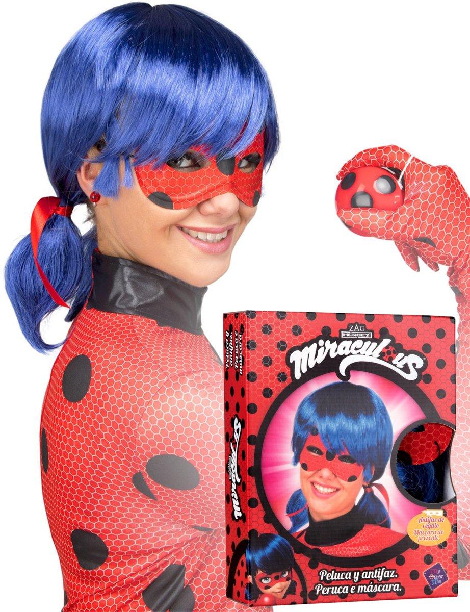 Cadeauverpakking Ladybug™ pruik en masker voor dames - Verkleedpruik