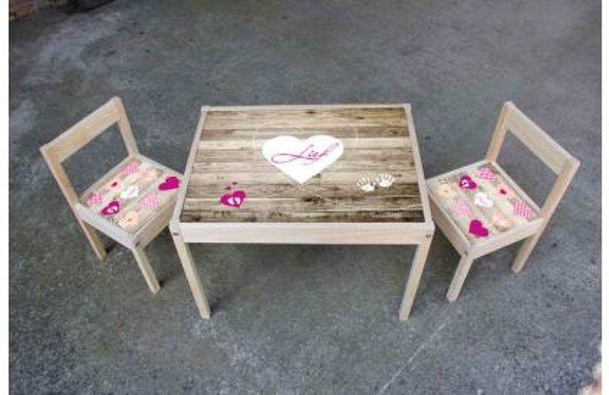 Kinder meubel Houten set steigerhout print met hartjes kopen
