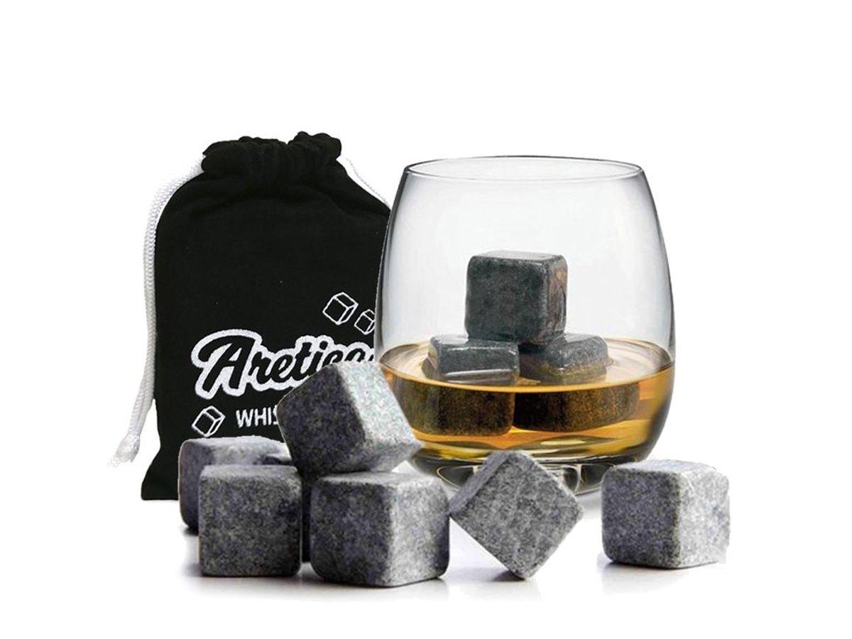 Aretica Whiskey Stones / Voor een echte whiskey on the rocks - Herbruikbare natuurstenen ijsblokjes - Ice cubes - Ijsklontjes van steen - Set van 9 stuks kopen