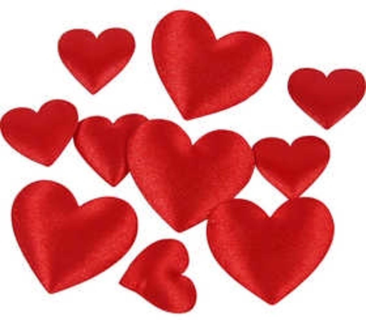 Satijnen harten, afm 10+20 mm, dikte 1-2 mm, rood, 700div [HOB-52112] kopen