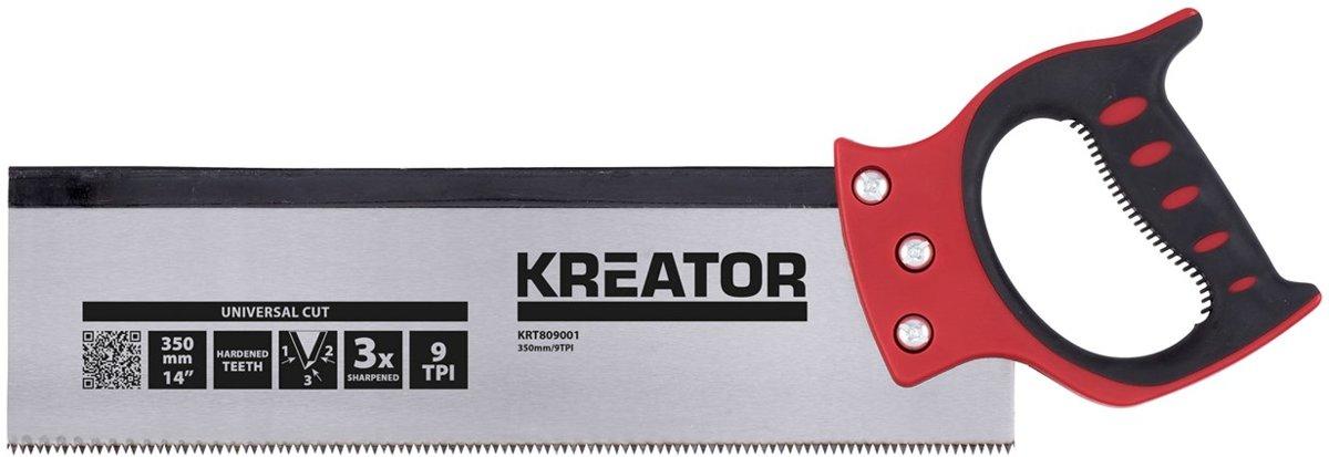 Kreator KRT809001 Rugzaag + verstekbak - TPI 9 - Met 35 cm zaagblad kopen