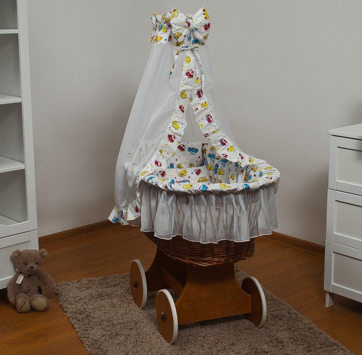 Rotan baby wiegje - Incl. beddengoedset, hemel met sluier, onderstel met wieltjes - 100% katoen - autos kopen