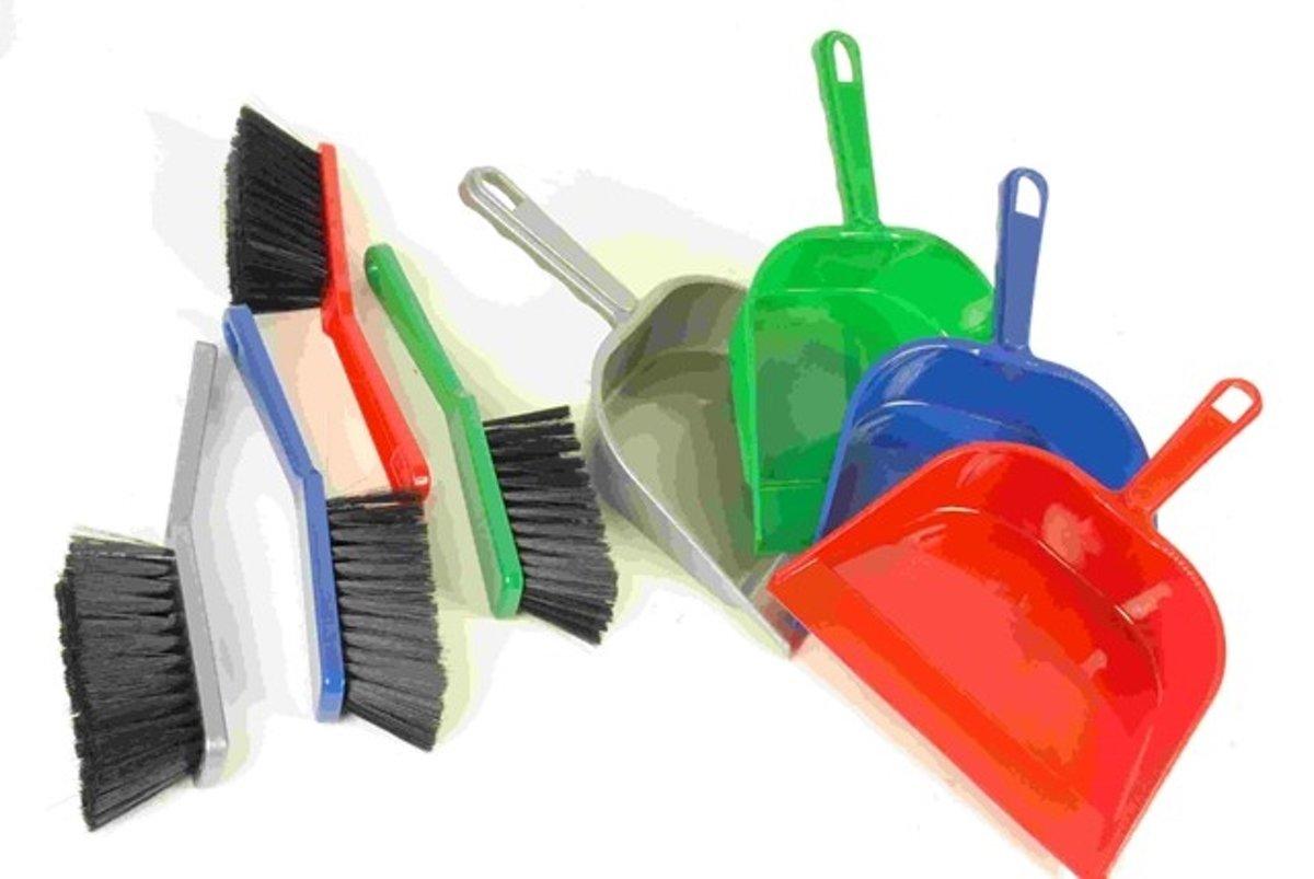 Stoffer & blik plastic - 4 vrolijke kleuren! kopen