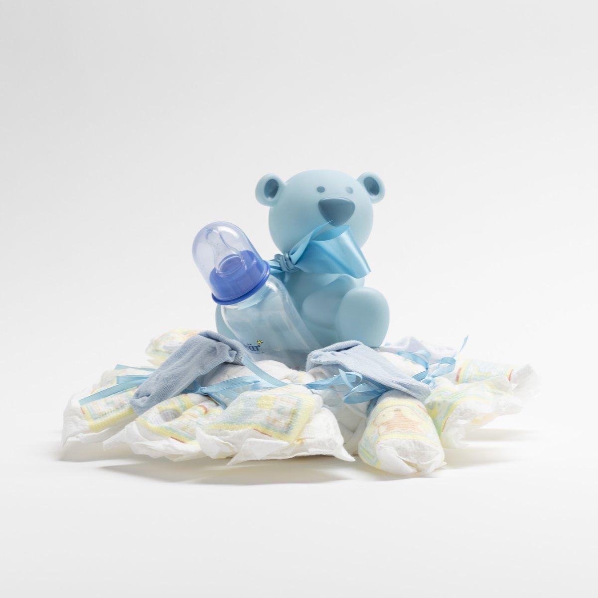De Zoetebekjes - Pampertaart - Luiertaart - Krans met beertje - Blauw - Jongens kopen