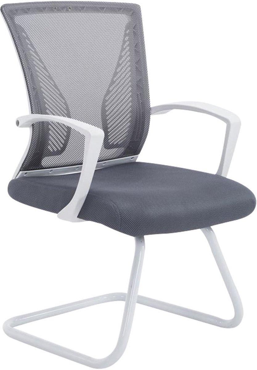 Clp Moderne bezoekersstoel BONNIE vergaderstoel, metalen cantilever met armleuning, netbekleding, belastbaar tot 130 kg - onderstel wit, bekleding grijs kopen