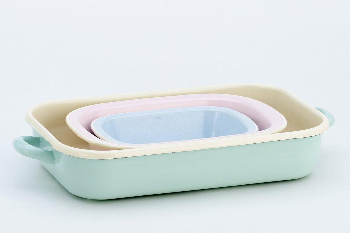 Braadslede/ovenschaal 3-delige set 32,26 en 20 cm emaille zacht pastel - Lite-Body kopen