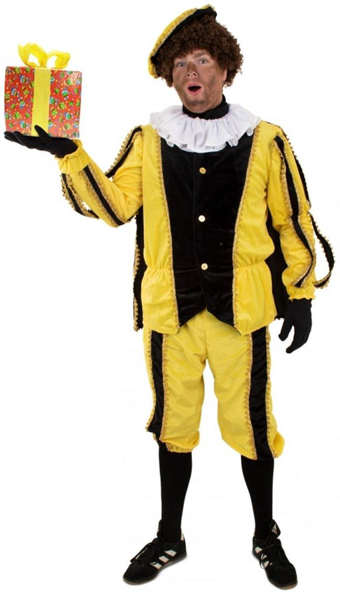 Zwarte Pieten pak 3-delig geel/zwart Gomera - Maatkeuze: Maat XL/XXL