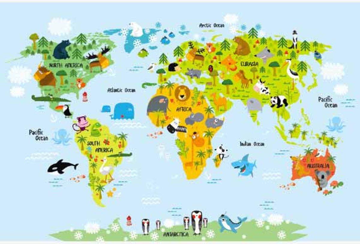 Wereldkaart ons dierenrijk baby Poster groot 120x90 cm - Wereldkaarten.nl kopen