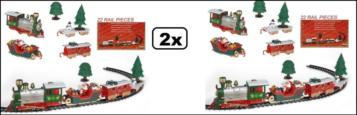 2x Kersttrein - 22-delig met muziek en licht kopen