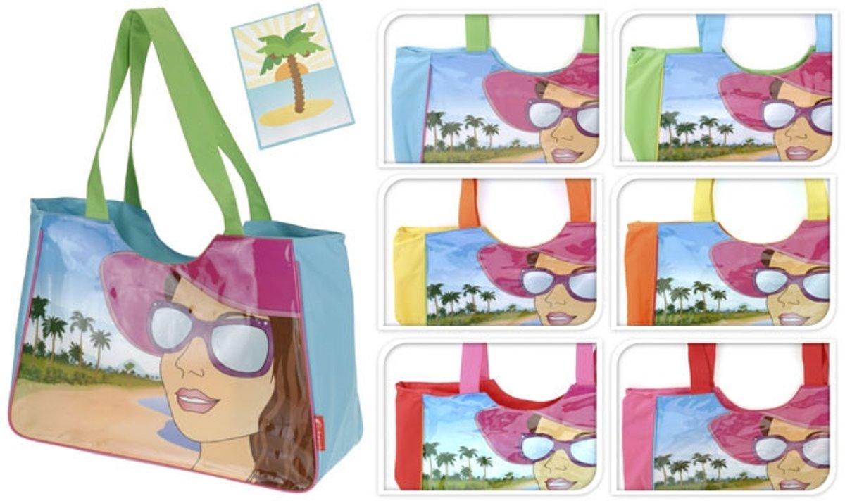 Strandtas met print gezicht geel kopen