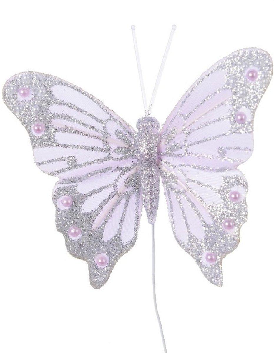 Kerststukje maken lila paarse vlinder 8 cm kopen