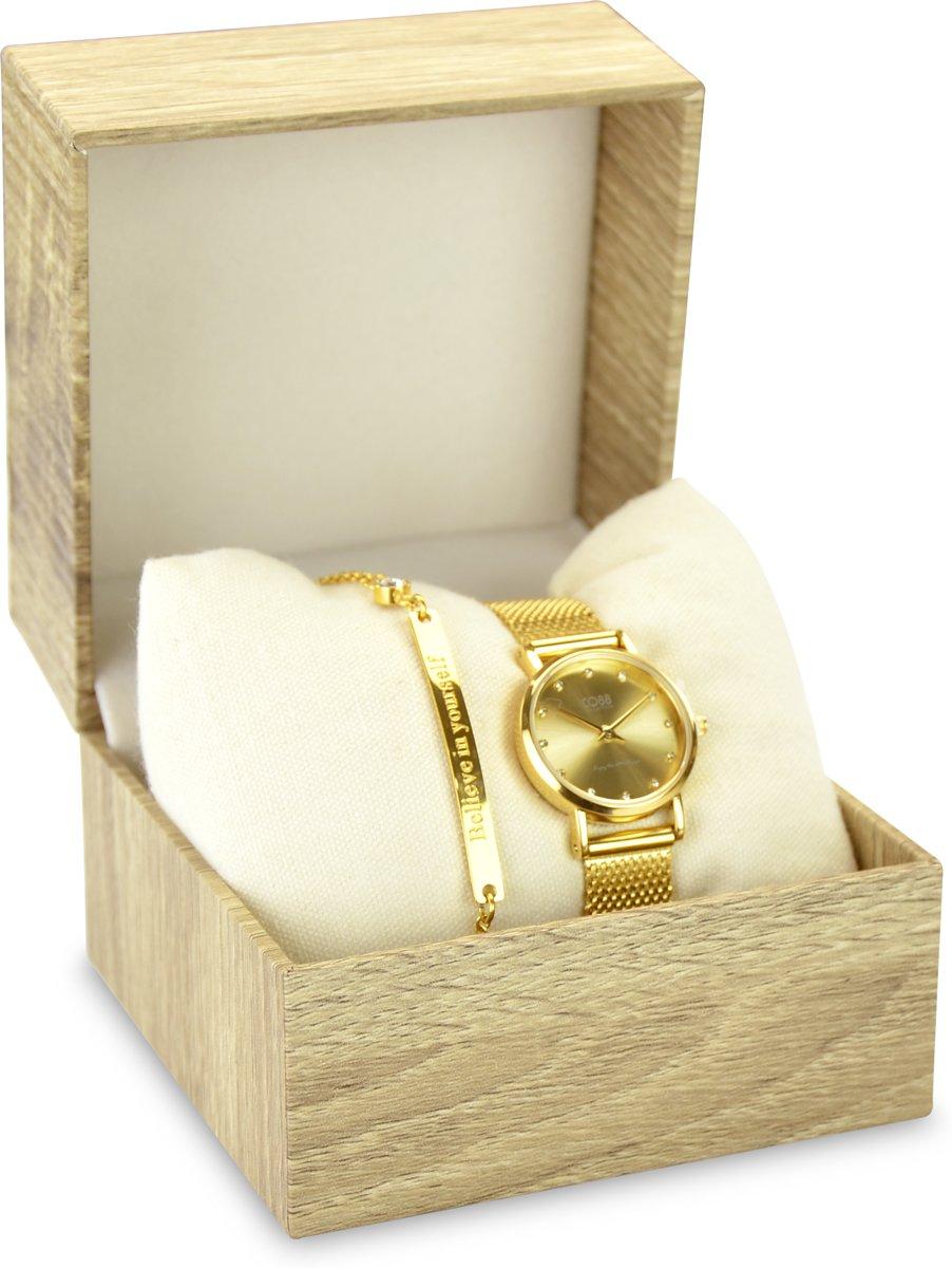 CO88 Collection Gift Set 8CO SET027 Horloge Geschenkset - Horloge met Armband - Ø 24 mm - Goudkleurig kopen