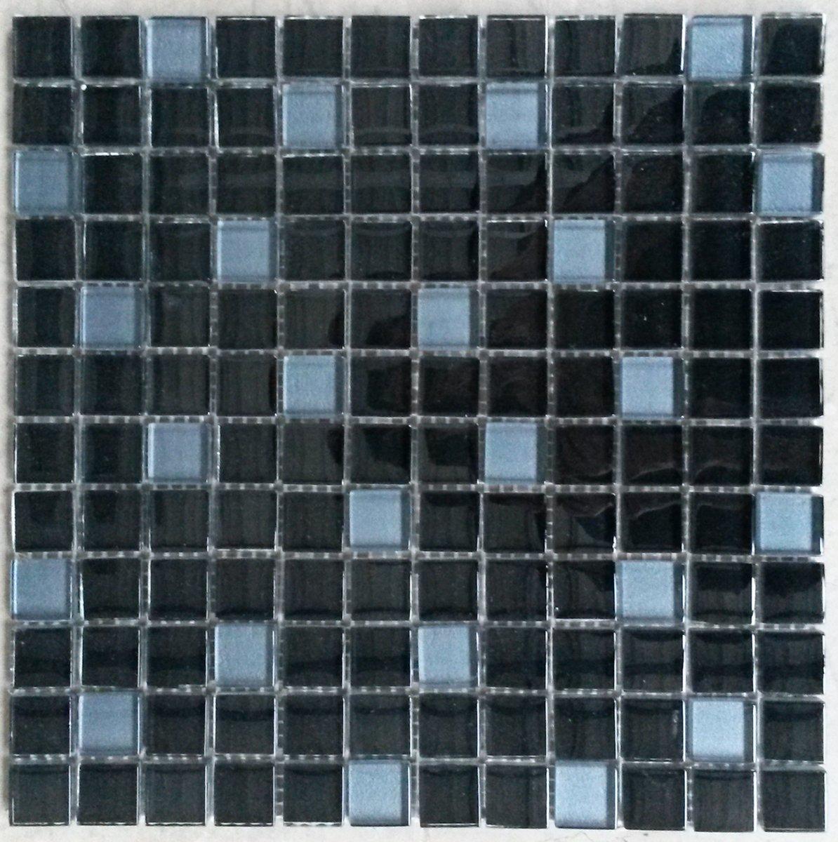 Mozaiek tegel glas zwart/blauw kopen