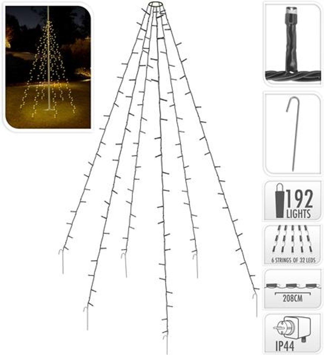 Vlaggenmast verlichting 192 LED's - 208 cm hoog - warm wit licht - waterdicht kopen