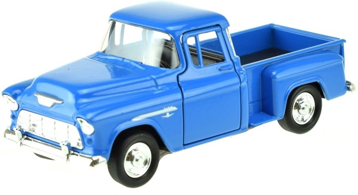 Speelgoed modelauto Chevrolet 1955 Stepside blauw 1:34