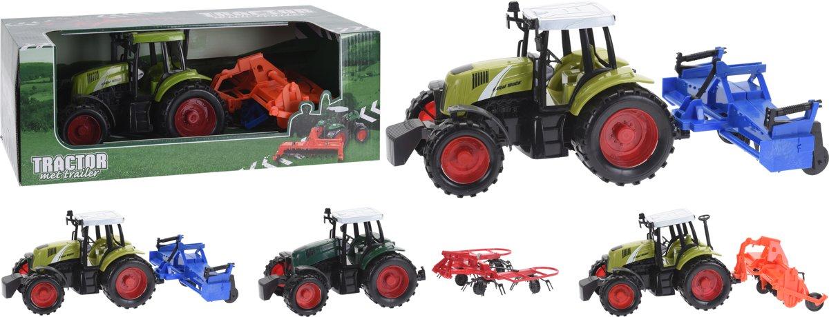 Tractor met aanhanger - 36 cm - Assorti