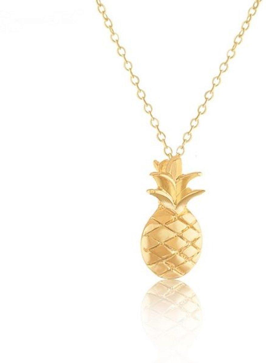 Joboly Ananas pineapple hippe bolle ketting - Dames - Goudkleurig - 45 cm kopen