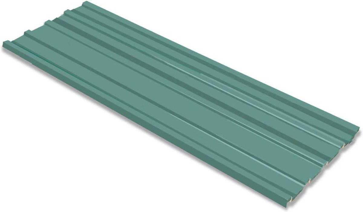 vidaXL Dakpanelen gegalvaniseerd staal groen 12st kopen