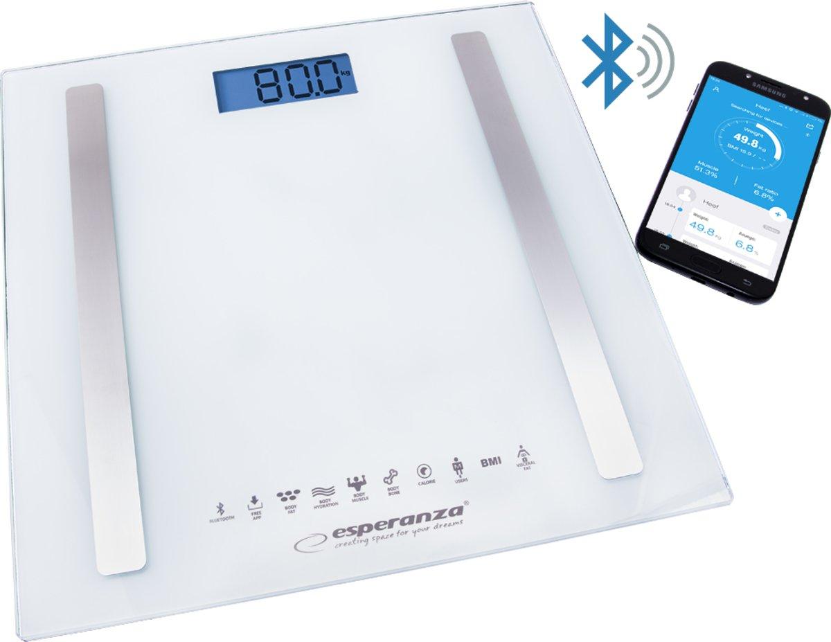 Esperanza 8in1 Bluetooth Personen Weegschaal met App – Lichaamsanalyse BMI, Vetpercentage, Spiermassa etc., Glazen Platform, Wit