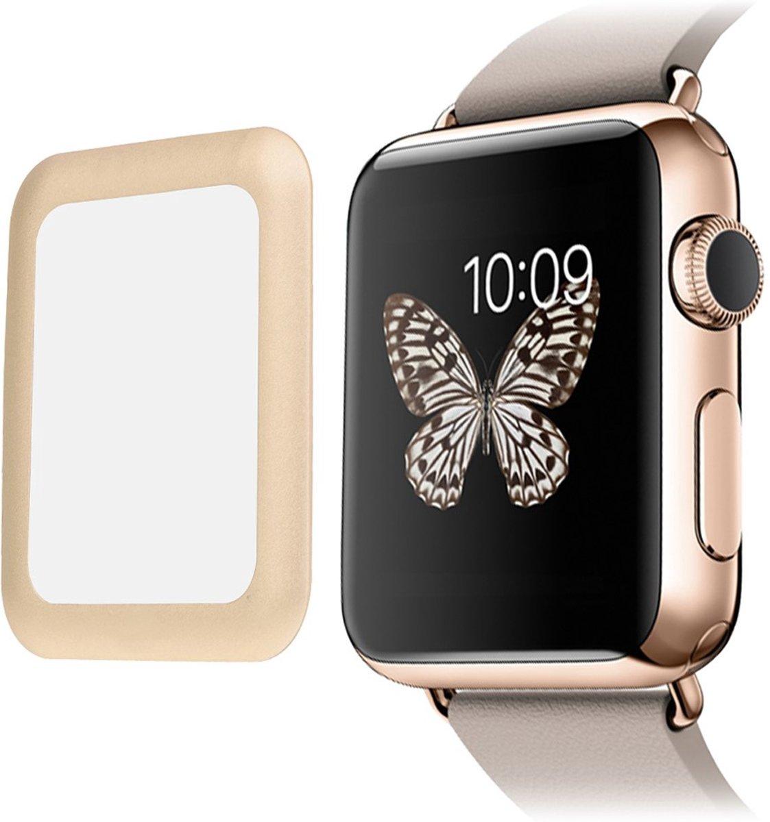 Tempered Glass Screen 0.2mm voor Apple Watch 42mm (Series 1 / Series 2 / Series 3) Full Coverage - Goud kopen