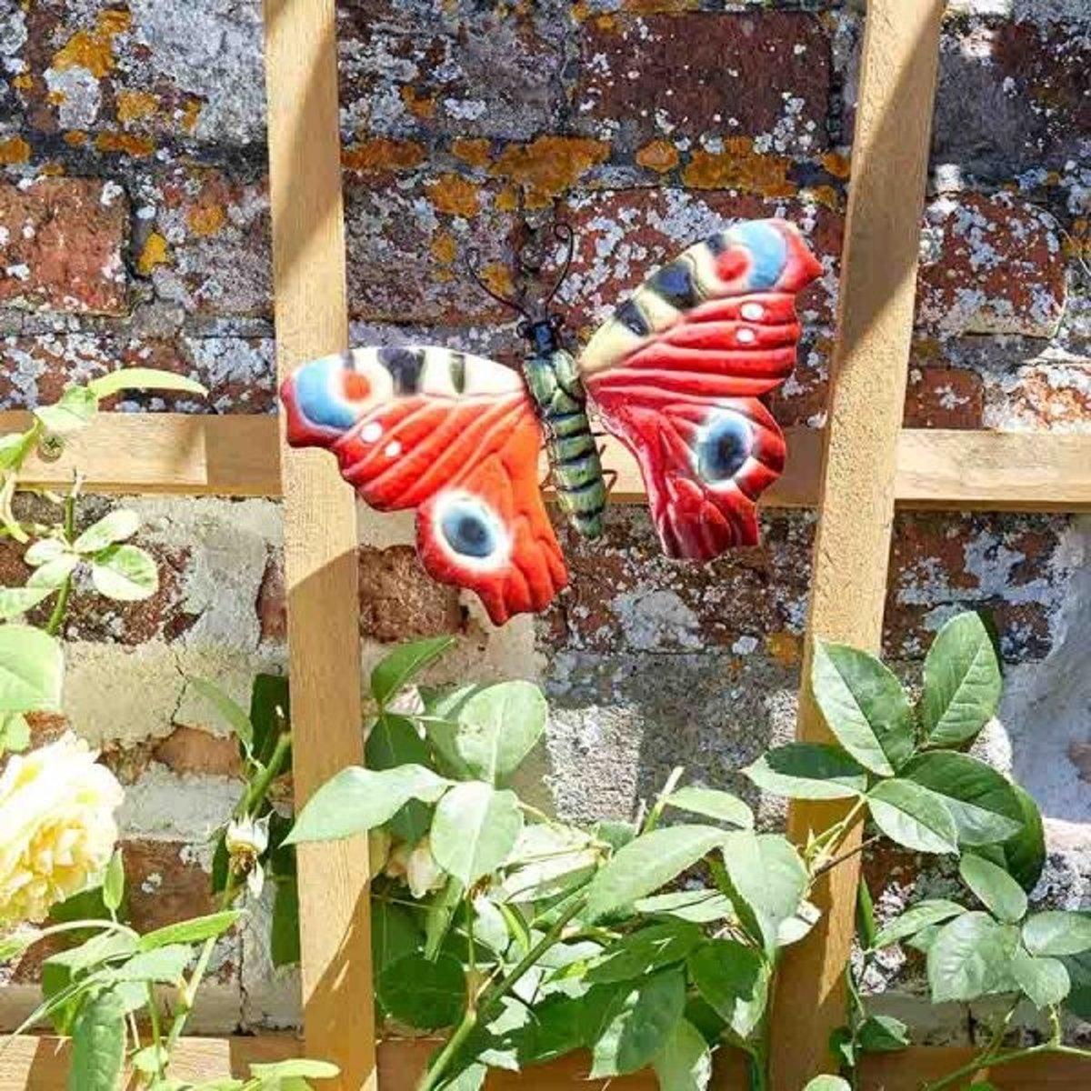 Vlinder dagpauwoog muurdeco 22 cm - set van 2 stuks