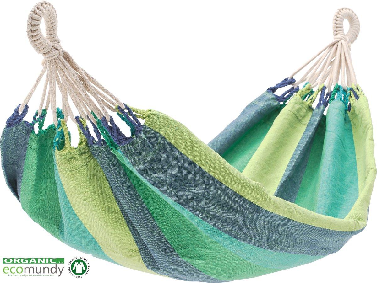 ECOMUNDY BABY BIO AQUA - Baby hangmat biologisch katoen blauw groen (70x100cm) met GOTS keurmerk