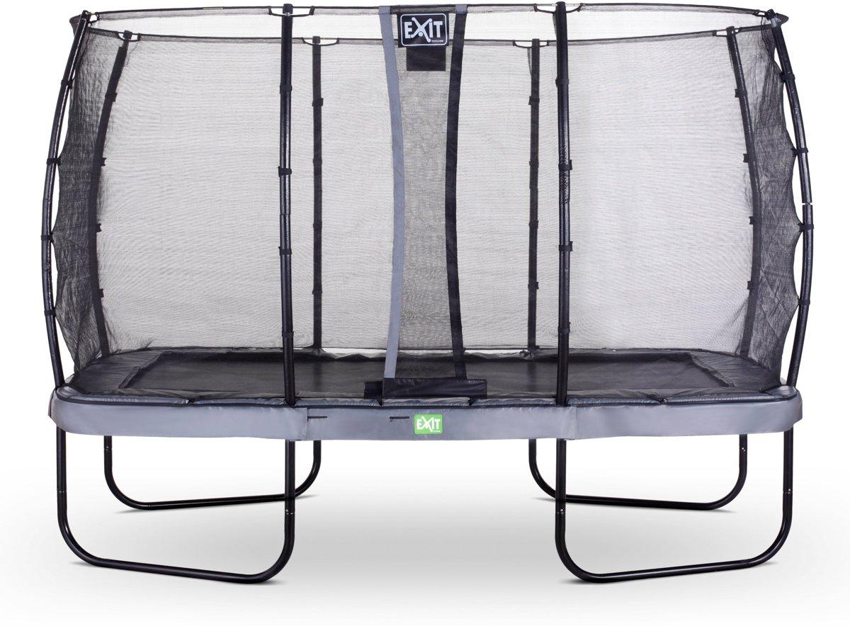 EXIT Elegant trampoline 244x427cm met veiligheidsnet Economy - grijs