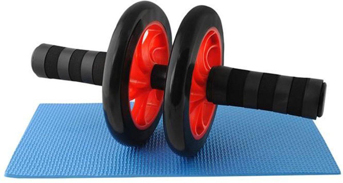 Buikspierwiel - buikspiertrainer - dubbel wiel - inclusief mat kopen