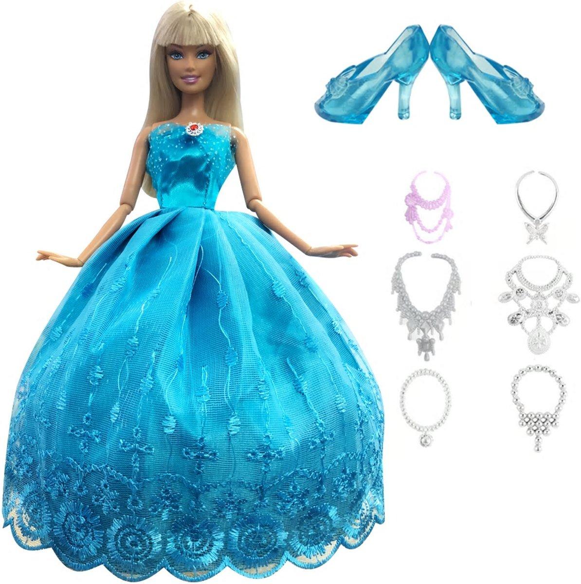 Blauwe prinsessen jurk voor Barbie met schoenen en sieraden