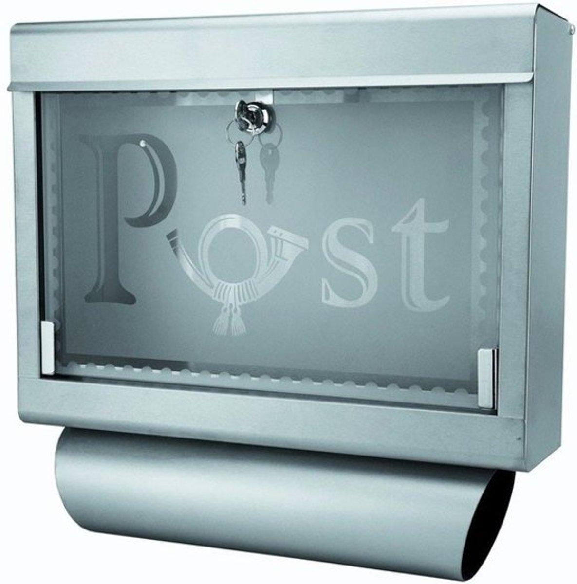 Grafner brievenbus met krantenrol, RVS en glas