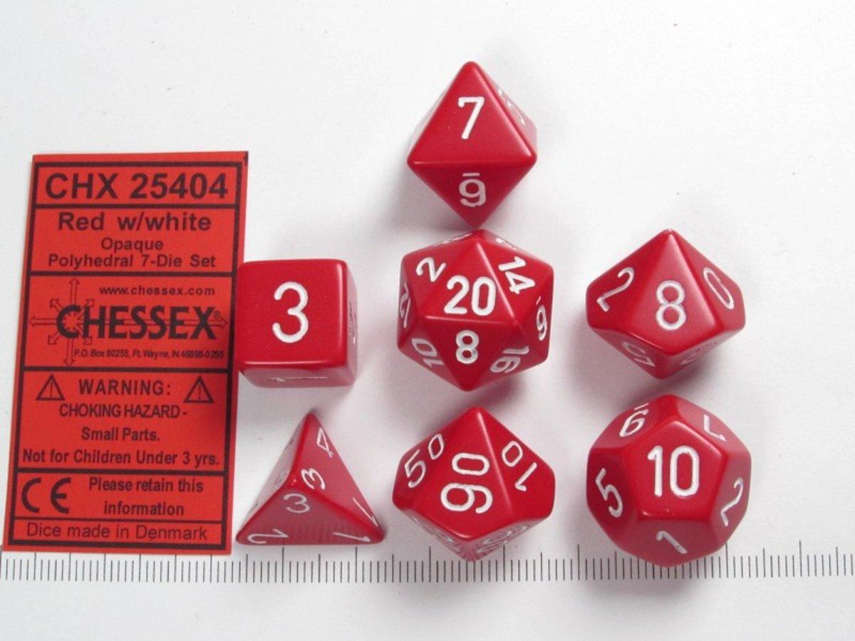 Chessex dobbelstenen set, 7 polydice, Opaque Red w/white