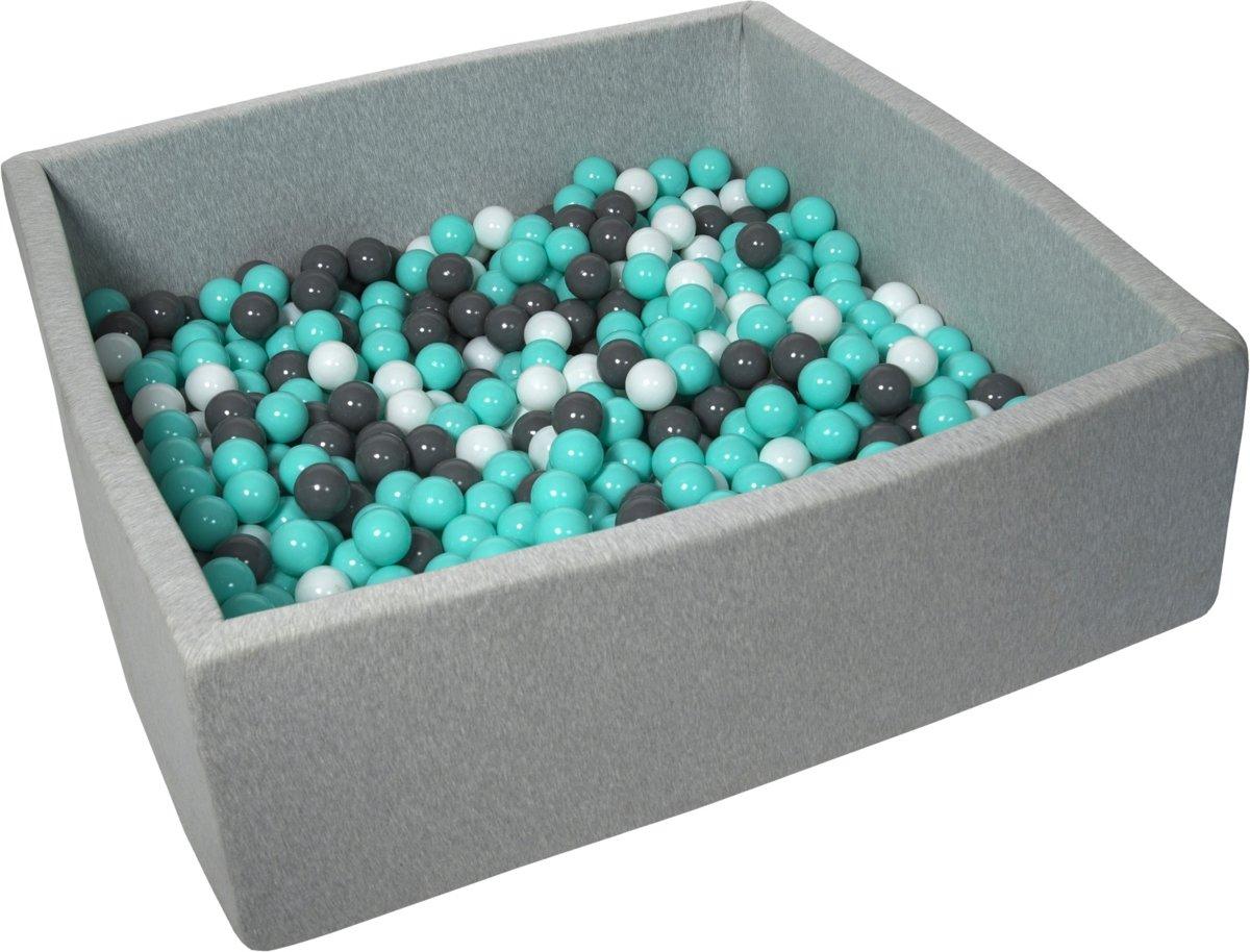 Zachte Jersey baby kinderen Ballenbak met 600 ballen, 120x120 cm - wit, grijs, turkoois
