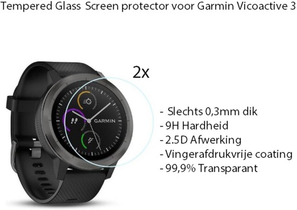 2 Stuks Getemperd Glas Screen Protector Geschikt voor Garmin Vivoactive 3 / Extra Hard voor Optimale Bescherming / Tempered Glass ScreenProtector kopen