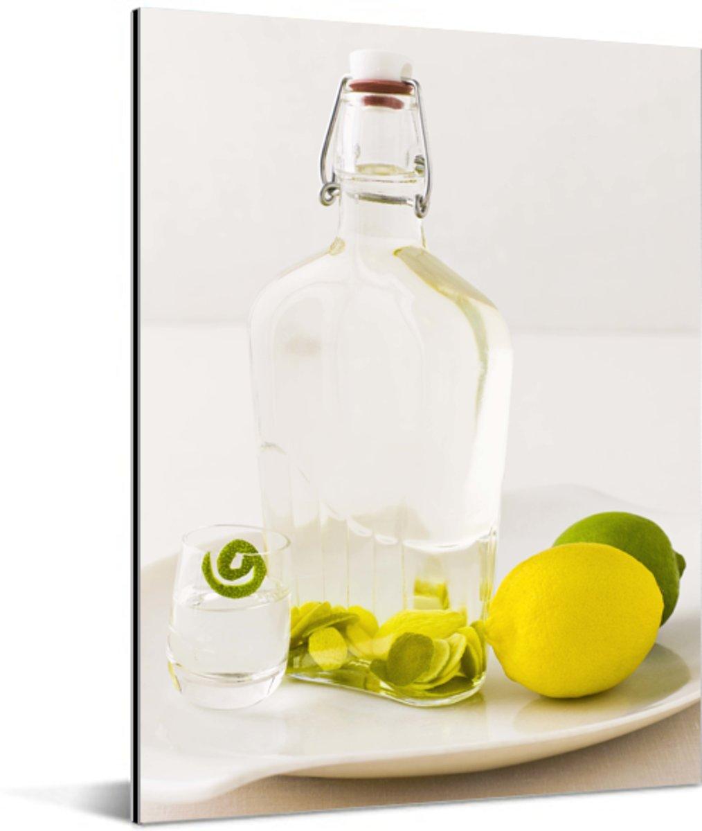 Citroen en limoen met wodka Aluminium 60x80 cm - Foto print op Aluminium (metaal wanddecoratie) kopen